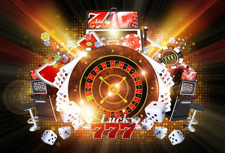 Shiny Illuminated Casino Concept Illustration on Black Background. Lucky Casino Games Concept. Stock Photo