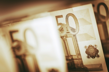 hundreds: Euro Banknotes Closeup. European Currency Cash Money. Euro Economy and Trading Concept