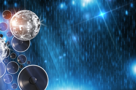 disco: Disco Dancing Background Illustration with 3D Rendered Elements. Abstract Blue Disco Backdrop with Disco Ball and Copy Space. Stock Photo