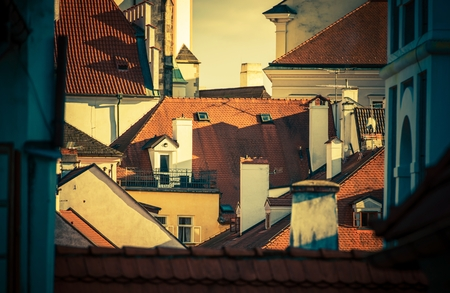 European City Roofs. Prague, Czech Republic Architectural Photo Concept. 版權商用圖片