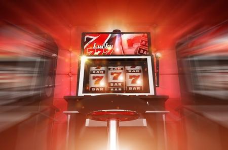 Glücklicher Spielautomat-Sieger-Konzept 3D-Render-Illustration. Glücks Casino Slot Machine