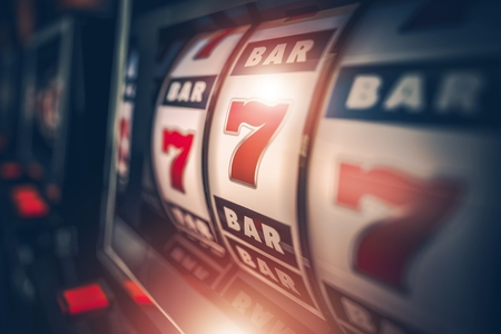 jackpot: Casino Slot Games Playing Concept 3D Illustration. One Armed Bandit Slot Machine Closeup.  Stock Photo