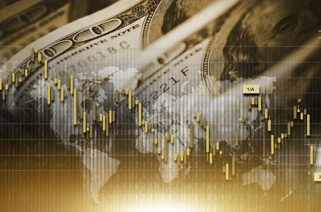 nasdaq: American Dollar Value Concept. Forex Statistic Graphs and Digital Background.