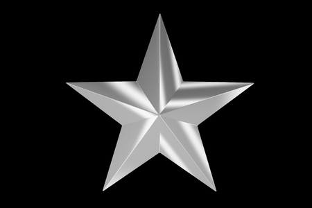 silver star: Silver Matte Star Isolated on Black Background. 3D Rendered Star.