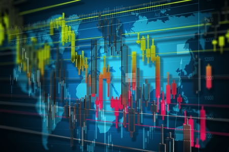 Forex Currencies Market Concept 3D Rendered Illustration with Statistic Graphics