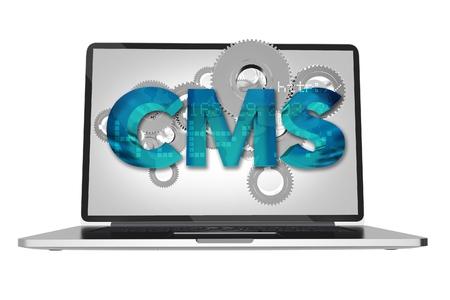 Website Content Management Systeem Via Computerscherm Concept 3D Illustratie Renderen. Webontwerptechnologie en -systemen.