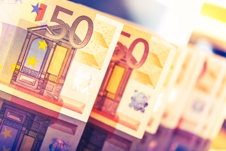 Colorful Euro Banknotes Closeup Photo. European Currency and Economy Concept Photo.