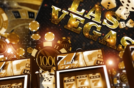 Golden Vegas Casino Concept. Casino Games 3D Rendered Illustration. Slot Machines, Roulette Game, Poker and Casino Chips.