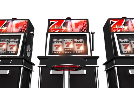 sin city: Isolated Slot Machines 3D Render Illustration. Casino Lucky Slot Games.  Stock Photo