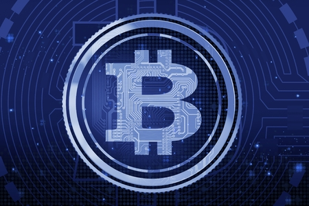 Blue Abstract Bitcoin Cryptocurrency Background Illustration.