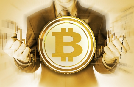Bitcoin Currency Trader Conceptual Illustration. Golden Color Grading. The Power of Bitcoin Stock Photo