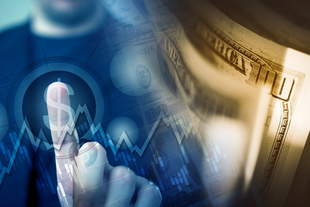 financial market: Forex Player Choosing American Dollar by Touching US Dollar Sign Concept Illustration with Dollar Banknotes. Stock Photo
