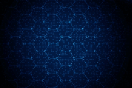 Dark Blue Science Background Illustration. Biotechnologies Backdrop. Фото со стока