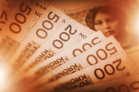 노르웨 이어 크로네 현금 돈 사진 개념. 노르웨이 크로네의 더미입니다.