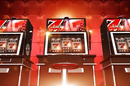 Máquinas tragaperras del casino de juego. Máquinas tragamonedas estilo Las Vegas. Un bandidos mano. Foto de archivo - 69049840