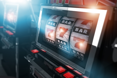 sin city: Casino Slot Games. One Handed Bandit Slot Machines Concept 3D Render Illustration. Casino Gambling.