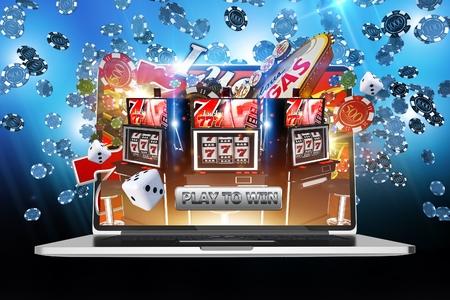 Online hry peněz. Internetový online kasino Koncept Ilustrace 3D Rendered.