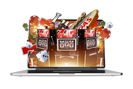 Online Gambling on Laptop Computer Abstract 3D Rendered Illustration. Isolated Illustration. Vegas Gambling. Фото со стока