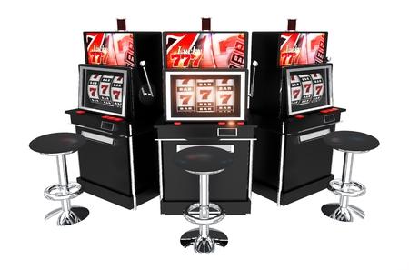 tragamonedas: Tres máquinas tragamonedas de casino aislados sobre fondo blanco. Las ranuras 3d Ilustración. Foto de archivo