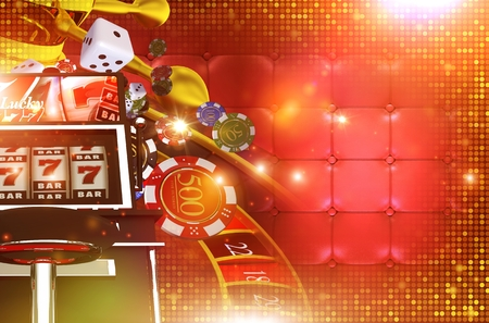 gambling game: Casino Gambling Background with Right Side Copy Space. 3D Rendered Casino Game Elements. Las Vegas Gambling Concept Backdrop Illustration. Stock Photo