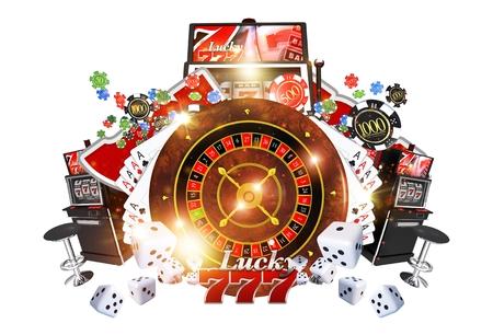 有名なカジノのゲームのコンセプトの 3D レンダリングの図。カジノのルーレット、ポーカー、スロット マシン、白い背景上に分離されて他のお金の