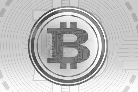 Gray Bitcoin Background Concept. Elegant Conceptual Bitcoin Currency Backdrop. Imagens