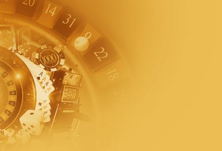 vegas strip: Casino Games Sepia Golden Background Illustration with 3D Rendered Casino Elements. Las Vegas Gambling Backdrop.