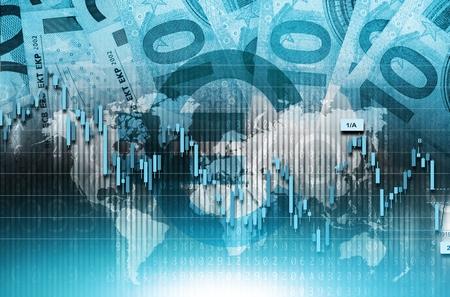nasdaq: Blue Euro Global Trading Conceptual Illustration. Global Euro Money Traders.