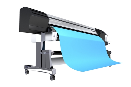 Isolated 3D Illustration of Wide Format Commercial Grade Printer. Wide Format Vinyl Banners Printing. Stock Photo