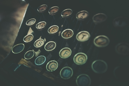 vintage document: Rusty Old Typewriter Closeup Photo. Vintage Typewriter   Stock Photo