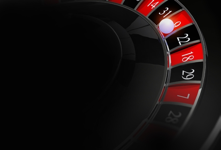 Casino Roulette Dark Background with Copy Space. Casino Gambling Black Backdrop. Stockfoto