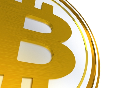 3D Bitcoin Symbol Illustration Isolated on White Background. Stock Photo