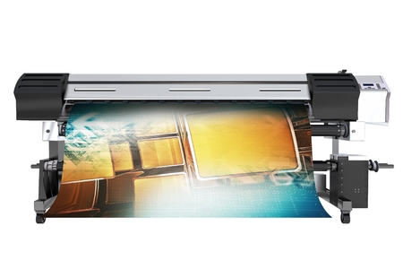 Wide Format Printing Concept. Solvent Grand Format Printer 3D Illustration Isolated on White.