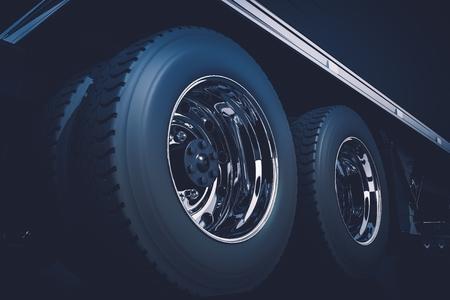Semi Truck Tractor Wheels Closeup 3D Render Illustration