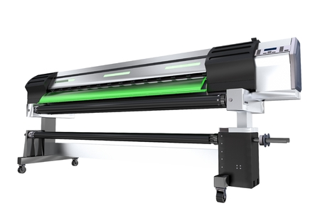colorize: Wide Format Ink Printer Isolated on White Background. 3D Rendered Printer Plotter Illustration. Stock Photo
