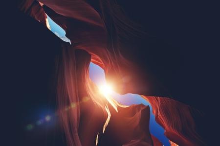 slot canyon: The Canyon Sunlight. Sun Rays Inside Scenic Arizona Slot Canyon.