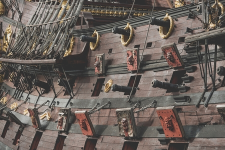 17th Century Spanish Galleon Cannons Closeup Photo. Vintage Vessel