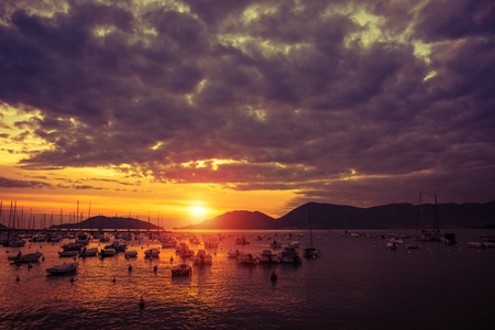 Lerici Italy Marina Sunset. Mediterranean Sea Italian Riviera. Province of La Spezia.