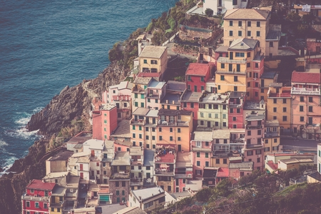 italian architecture: Mediterranean Italian Architecture. Riomaggiore Village. Italy, Europe. Stock Photo
