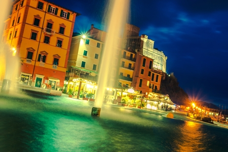 Lerici Italian Rivera at Night. Lerici Waterfront Fountains. Province of La Spezia in Liguria, Italy.