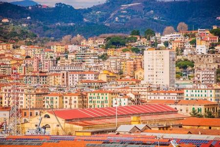 italian architecture: La Spezia Cityscape Photo. City of Las Spezia in Liguria Province. Italian Riviera Architecture. Stock Photo