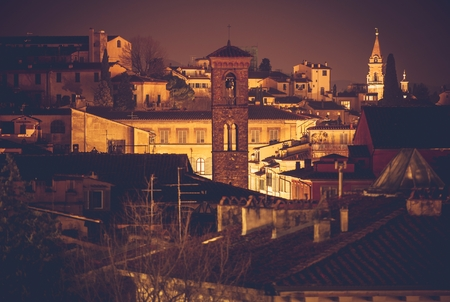 italian architecture: Florence Night Scenery. Italian Tuscany Region Architecture. Northern Italy, Europe.