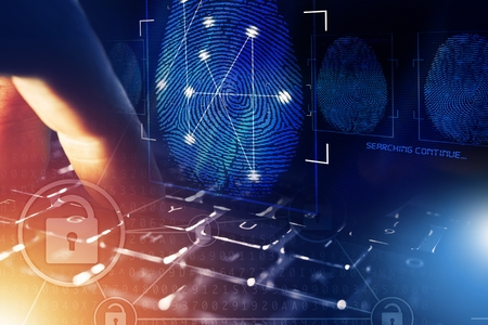 Fingerprint and Computer Police Database Scan. Person Screening.