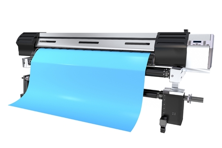 colorize: Modern Grand Format Printer 3D Rendered Illustration. Printer Isolated on White.
