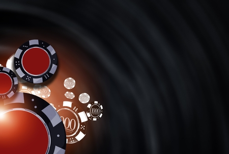 Black Casino Background Illustration with 3D Rendered Casino Chips. Stock Photo