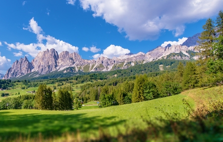 destination scenics: Cortina dAmpezzo Scenic Dolomite Mountains. Northern Italy, Europe.