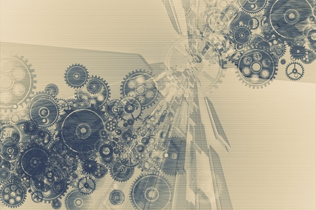 Abstract Technology Background Illustration with Complicated System of Cog Wheels.