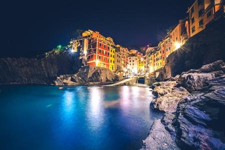 italian architecture: Riomaggiore Night Scene. Italian Riviera, Liguira, Italy. Italian Architecture at Night Stock Photo