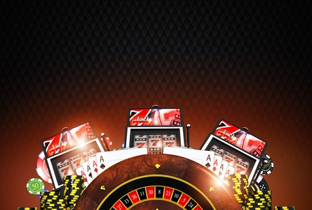 vegas strip: Elegant Casino Concept with Copy Space Background Section. Las Vegas Gambling Background.