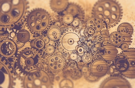 Advanced Mechanical System Abstract. 3D Rendered Illustration. Iron Mechanism Abstract Background. Imagens